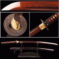 Wholesale Japanese Samurai Red - Red Damascus Blade Samurai Sword Japanese Katana Folded Steel Battle Ready Espada Practical Sword Sharp Knife Samurai Cosplay