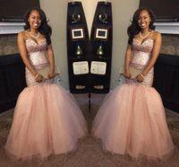 Wholesale peach mermaid prom dresses - 2017 Peach Black Girl Backless Mermaid Prom Dresses Sequins Blingbling Sweetheart Vintage Aso Ebi Evening Gowns