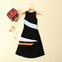 Wholesale printing color bars - 2017 Brand Same Style Dress Pleated Summer Crew Neck A Line Mid Calf Sleeveless Elastic pleated pressure crepe spell color bar AS19
