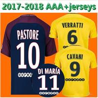 Wholesale Men Swimming Shirt - Top thai Neymar JR 2017 2018 home DANI ALVES DI MARIA Soccer Jerseys 17 18 maillots Away Yellow VERRATTI CAVANI MBAPPE Football Shirts Away