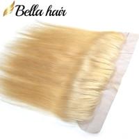 613 fermeture frontale blonde achat en gros de-Bella Hair® 10A # 613 Blonde Frontale Fermeture Avec des Cheveux de Bébé Brésiliens Remy Cheveux Humains Dentelle Fermeture 13 * 4 Dentelle Oreille à l'Oreille