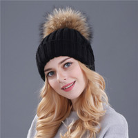 Wholesale Mink Fur Yarn - Top quality mink and fox fur ball cap pom poms winter hat for women girl 's hat knitted beanies cap brand new thick female cap