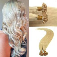 Wholesale U Tip Blonde Curly Extensions - 50s Remy Hair Blonde U Tip Blonde Hair Extensions 1g Keratin Hair Extensions 14-24inch #613