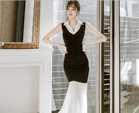 Wholesale Twilight Night Lights - 2017 summer new Korean light cooked ladies temperament stitching twilight Slim package hip dress