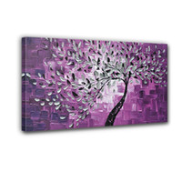 Wholesale boutique selling hand painted the back knife and white painted purple flowers adorn the walls of high Q scenery oil painting canv