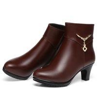 zip botas de neve venda por atacado-Sapatos de Inverno de Couro de alta Qualidade Mulher Botas 2019 Nova Moda Sapatos De Salto Alto Mais Botas De Neve De Veludo Botas de Couro Genuíno Ankle Boots
