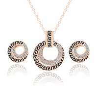 Wholesale Dinner Gift Set - Retro Style Rhonestone Alloy Earrings & Necklace Set Circle Shape Pendant Necklac Earrings Jewelry Sets Women's Wedding Dinner Party Gifts