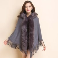 Wholesale Winter Cap Types - The New Women's Outerwear Europe and The United States Autumn and Winter Women 's Fur Cloak Fur Cap Knitted Hooded Loose Type Cloak