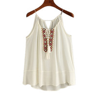 Wholesale Wholesale Embroidered Tank Tops - Wholesale- Unique Design Woman Tasselled Drawstring Neck Embroidered Camis Girls Comfortable Sleeveless Tank Tops Ethnic Style Aug4