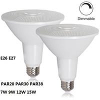 e27 luces de inundación al por mayor-PAR20 PAR30 PAR38 Bombilla LED Regulable LED Luces de inundación Bombilla Iluminación interior / exterior E26 E27 Foco LED 7W 9W 12W 15W