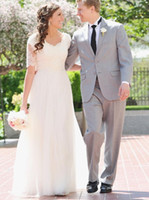 Wholesale beach wedding reception dresses - A-Line Lace Tulle Beach Modest Wedding Dresses 2017 Short Sleeves Cheap Simple Summer Garden Informal Reception Bridal Gowns Mature Bride