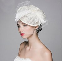 Wholesale Sinamay Hat Kentucky - 2017 Vintage Hemp Hat Ostrich Hair Banquet Party Bridal Head Hair Decorated,Sinamay, Kentucky Derby Hats