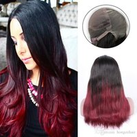 Wholesale Remy Hair Dark Wine - Best Quality Silky Straight Ombre Color T1B Red Wine Remy Brazilian Hair Full Lace Human Hair Wigs for Black Women Hand Tied