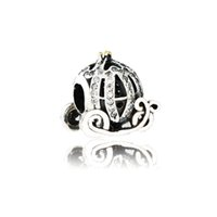 Wholesale Pandora Pumpkin Bead - Diy Fit Pandora Bracelet Authentic 925 Sterling Silver Cinderella Pumpkin Carriage Charm Bead With Clear CZ For Jewelry Making