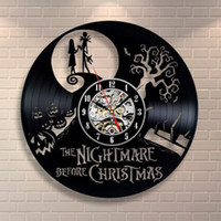 Großhandel Weihnachtswand Dekorationen Kaufen -Großhandel-die Nightmare vor Weihnachten Black Vinyl Record Clock Creative CD Wanduhr Antique Home Decoration Horloge Murale