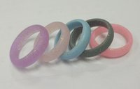 Wholesale Mixed Color Rubber Band - Fashion Women Silicone Wedding Rings 5mm Circle Round Silicone Rubber Flexible Ring Band Mixed Color for Wedding Sports Enthusiast Wholesale