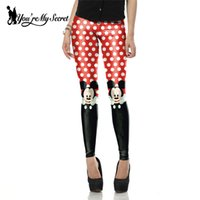 Wholesale Leggins Cute - Wholesale- New Arrival Cute Mini Mouse Red Printed leggins for Women leggings