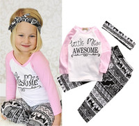 Wholesale Tshirt Pants Tops - hot sale girls suits 2017 Newborn Kids Baby Girl letter pint long sleeve tshirt tops+pants+headband pink black boutique Clothes Outfits Set