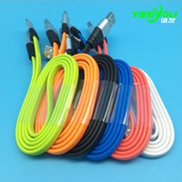 Wholesale Iphone C Mobile - 2017 3FT 2A fast charging Metal Flat Noodle Micro USB Cable Data Sync Adapter charger Cords for Mobile Phone Android Samsung Huawei Xiaomi