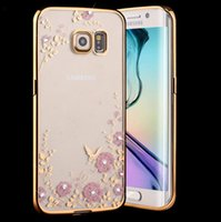 Atacado Hot Selling Flower Diamond Plating Bumper Transparente Soft TPU Silicone Phone Case para iPhone 6 6 Plus Cover Coque