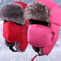 Wholesale Warm Santa Hat - New Korean Winter Warm Fleece Ski Caps Protected Ear Mask Caps Snowboard Cap For Ride Cycling Rabbit Fur Caps Santa Christmas Hats ZJ-H17