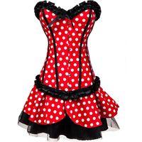 Wholesale burlesque corsets dress - Women's Clothing Polka Dot Overbust Corset Dress Sets Deguisement Adultes Burlesque Cospaly