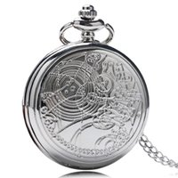 Wholesale Pocket Watch Fobs - Wholesale-Hot Sale Doctor Who Pocket Watch Design Pocket Watch Luxury Sliver Fob Watch