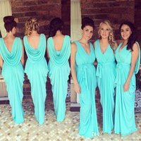 Wholesale Under Glow Lights - Cheap Glowing Teal Turquoise Bridesmaid Dresses 2016 V-Neck Draped Ruffles Chiffon Backless Junior Long Bridesmaid Gowns