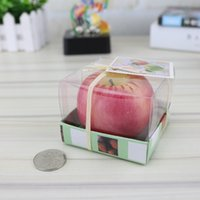 Wholesale Apple Candle Favors - Apple Candle Paraffin Wax Home Romantic Party Decorations Scented Candles Birthday Christmas Wedding Favors Gifts Ornament with Box dhl