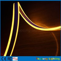 néon lumières latérales achat en gros de-Nouveau 20 m bobine 8 * 18mm jaune étanche IP75 double face émettant led néons mini bande de néon flexible 12V 24V avec haute qualité