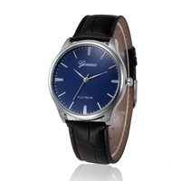Wholesale pu faux watches - Relojes Mujer New Geneva Retro Design Casual Faux Leather Band Analog Alloy Quartz Wrist Watch Clock Male