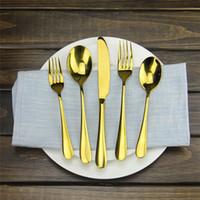 cuchillos de cocina de restaurante al por mayor-Juego de cubiertos de 5 piezas de oro Juego de cubiertos de lujo de oro rosa Juego de cena de acero inoxidable Cuchillo Tenedor Vajilla para la cocina en casa Restaurante
