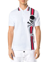 Wholesale Toms Style - Tom Men Fashion European Top Brand Mens Short PoloShirt Fit Slim Desinger Print Rhinestone Skulls Casual l Mens T-Shirts P18364-68