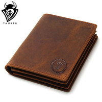Wholesale Handmade Cowhide Purses - Wholesale- 2017 Vintage Crazy Horse Handmade Leather Men Wallets Multi-Functional Cowhide Coin Purse Genuine Leather Wallet For Men
