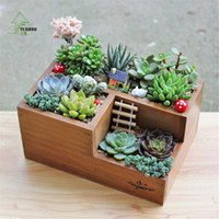 Wholesale Wooden Bin Box - YIHONG Plant Tray Wooden Case Holder Treasure Chests Wooden Storage Boxes Multifunction Jewelry Trinket Storage Box &Bins