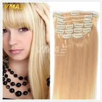 Wholesale Light Auburn Human Hair Clips - Clip In Silky Straight Hair Extensions Blonde Clip In Non Processed Human Hair Extensions VMAE 7Pcs 120G