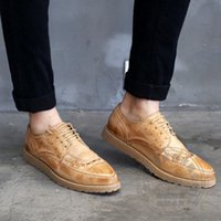 Wholesale Coffee Color Shoe Man - Soft Leather Leather Pure Color Brogue Hi Street Weave Hollow Carved Coffee Wrap Heels Full Grain Leather Men Flat Shoes