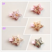 Wholesale Wholesale Starfish Hair Accessories - 2017 Summer Style Starfish Hair Clip Korean Shiny Baby Girls Hair Accessories Pink Sea Star Hairpins Stars Princess Hairpin Cute