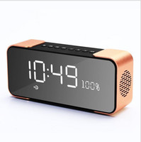 2017 Best Hand Free Calling Bookshelf Metal Clock Alarm Led Venta al por mayor Wireless Bluetooth Speakers para computadora, ordenador portátil, teléfono, Pad