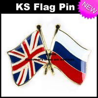 Wholesale Russia Pins - UK Jack Russia Friendship Flag Badge Flag Pin 10pcs a lot Free shipping 0003