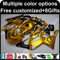 Wholesale Motorcycle Cover Plastic - 23colors+8Gifts GOLD motorcycle cover for Yamaha YZF600R 1997-2007 97 98 99 00 01 02 03 04 05 06 07 ABS Plastic Fairing