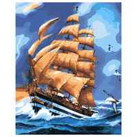 Wholesale Diy Famous Paintings - Sailing Journey Oil Painting Digital Paintings Modern Canvas Wall Arts Unframed Painting By Numbers Diy Oils Famous Collection