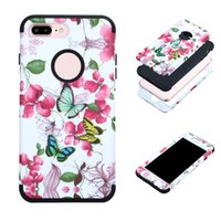 Wholesale Hybrid Flower Case - Armor Shockproof Hybrid PC TPU Flower Painted Cover Flull Protection Case For Iphone 7 6s 6 plus Samsung S8 Plus Opp Bag