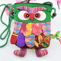 Girls Purse Factory Vestindo diretamente o pano de caráter Handmade Preschool Baby Owl Colorful Stitch pré-escolar Baby Owl Backpack Fashion Bag