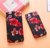 Wholesale Cartoon Hard Plastic Back Cover - Rose Peony Flower Cartoon Case For iPhone 7 7Plus 6 6s 6Plus 6sPlus Hard PC Phone Case Cute Cartoon Floral Back Cover