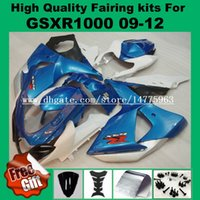 Wholesale Black Body Molding - Injection molding Fairing kits for SUZUKI GSXR1000 2009 2010 2011 2012 GSX-R1000 09 10 11 12 K9 Fairings kit blue white black body 9gifts