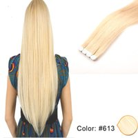 Wholesale Multi Color Hair Extensions - High Quality Tape In Hair Extensions 100% Unprocessed Human Hair Silky Straight Blonde 16-26 Inch Pu Skin Weft Multi Colors 20 Pieces 40g