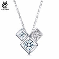 Wholesale Necklace Box Jewel - ORSA JEWELS 3 PCS Genuine 925 Sterling Silver Crystal Love Box Pendant Necklaces for Girlfriend Birthdays Gift SN32