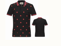 Wholesale New Shirt Style For Mens - 2018 New Luxury Brand embroidery t shirts for men Italy Fashion poloshirt shirt men High street Snake Little Bee Tiger print mens polo shirt
