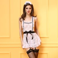 Wholesale Lovely Underwear Sex - Sexy Lingerie Underwear Lovely Female Maid Lace Sexy Miniskirt Maid Outfit Costume Sex Products Clairvoyant Outfit Freeshipping
